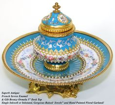 """Antique French Sevres Enamel 5"""" Inkwell, Inkstand, HP Flowers & 'Jewels'  Photo credit: Antiques & Uncommon Treasure"""