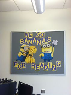 "minions and reading. changing ""reading"" to technology :) Minion Bulletin Board, Minion Classroom Theme, Minion Theme, Reading Bulletin Boards, Preschool Bulletin Boards, Classroom Themes, Reading Boards, Preschool Classroom, Kindergarten"