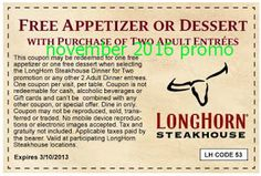 Longhorn Steakhouse coupons & Longhorn Steakhouse promo code inside The Coupons App. Free appetizer or dessert with your entrees at Longhorn Steakhouse May Longhorn Steakhouse Coupons, Dollar General Couponing, Coupons For Boyfriend, Restaurant Coupons, Coupon Stockpile, Free Printable Coupons, Free Printables, Dinner Entrees, Grocery Coupons