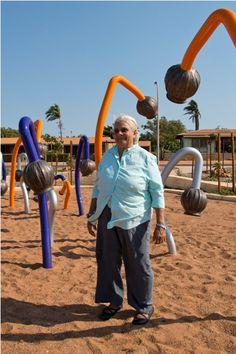 Spinifex Hill Studio artist, Anne Sibosado's 'Gumnut Talkies' sculptures at Cemetry Beach in Port Hedland