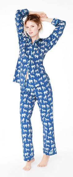 Lions are tamed, elephants paraded and horses are prancing in this whimsical Fall print from Bedhead. Made of soft 95% cotton and 5% spandex for a touch of stretch, the pj shirt is button up with a notch collar. The pj pant has a plush elastic waistband for comfort. Exclusive print by Bedhead founder Renee Claire Bertrand. You might also like the matching pajama for Men.   Made in the USA by Bedhead Pajamas