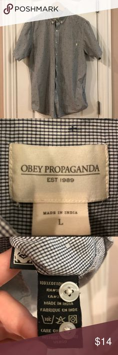 OBEY Men Button Down Shirt Short Sleeves Size L Like New Condition. Navy blue gingham shirt. Dress it up or down. Worn 2 or 3 times. No stains or damage. Original buttons plus extras. Straight for. 100% cotton. Made in India. Obey Shirts Casual Button Down Shirts