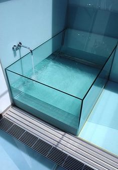 Glass Tub - Transparent Bathtub - Bathroom Design. Interior Design, Home Decor, Interior Styling, Home Inspiration, Home Styling, Interior Trends, Design Trends, Design Furniture, Interior Accessories, Design for your Home, Decorating Ideas, Interior Design Blog, Living, Styling, Design, Bathroom, Bedroom, Living room, Kitchen, Interior, Exterior, Garden and Landscape Design, Architecture. http://whatiwouldbuy.com/FUTURISTIC+TRANSPARENT+GLASS+POOLS+SINKS+BASINS+AND+TUBS