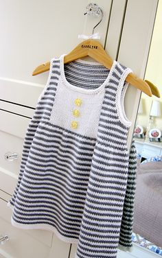 #14 Striped Dress by Debbie Bliss. 6-36 months