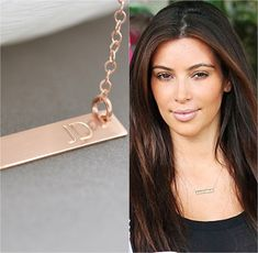 Gold Bar Necklace, Initial Bar Necklace, Monogram Bar Necklace, Personalized Gold Jewelry, Rectangle Necklace by malizbijoux. Explore more products on http://malizbijoux.etsy.com