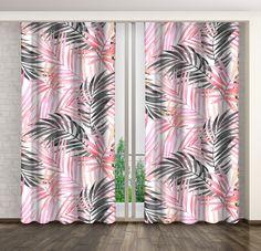 Bílé závěsy s růžovými listy Curtains, Shower, Prints, Rain Shower Heads, Blinds, Showers, Draping, Picture Window Treatments, Window Treatments