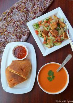 Wholewheat Calzone, Fattoush Salad and Tomato Soup