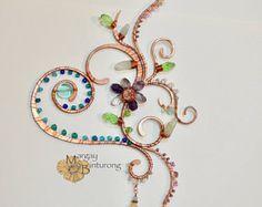 SALE Super sparkly Heart Vine Flower Suncatcher, Swarovski Crystal gemstone wire art, window hanging patio garden decoration home decor