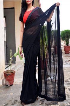 Buy Black Red Net Handwork Saree - Women Sarees Online in India Cotton Saree Blouse, Saree Blouse Neck Designs, Saree Wearing Styles, Saree Styles, Sarees For Girls, Bollywood Designer Sarees, Designer Blouse Patterns, Indian Bridal Fashion, Stylish Sarees