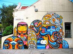 Beastman x Phibs x Creepy New Mural In Sydney, Australia #streetart