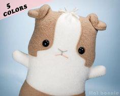 Guinea Pig stuffed animal plush -  2-tone - Flat Cavy - 5 Dutch style colors - Plush Stuffed Animal - Flat Bonnie - 1