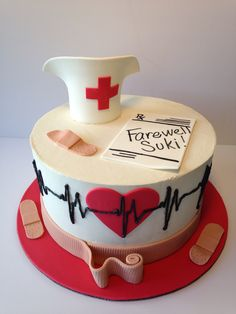 Amazing farewell cake for a nurse! Cakes To Make, Cakes And More, How To Make Cake, Crazy Cakes, Fondant Cakes, Cupcake Cakes, Nursing Graduation Cakes, Medical Cake, Farewell Cake