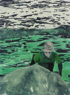 Peter Doig (British, b. Surfer, Oil on paper, 30 x 22 in. Peter Doig, Contemporary Paintings, Contemporary Landscape, Artists Like, Art Sketchbook, Portrait Art, Figure Painting, Figurative Art, Landscape Art