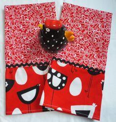 2 Red Urban Chicken Kitchen Dish Towels Tea by juliegalbraith, $16.00