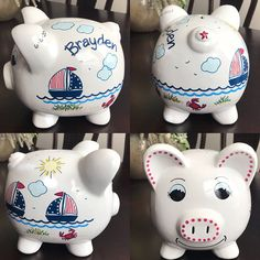 Artículos similares a Personalized Piggy Bank with Navy Blue and Red Sailboats, Crabs, Fish, Beach and Ocean en Etsy Personalized Piggy Bank, Crafts For Girls, Glass Ornaments, Hot Pink, Color Change, Craft Projects, Polka Dots, Navy Blue, Butterfly