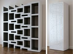 Interesting book shelf. due to the uneven spaces it gives the impression it´s never full.
