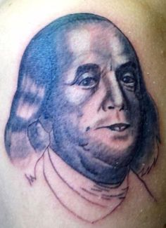 When the Ink Dries: 14 More Bad Tattoos Ben Franklin – Bad Tattoos America's Worst Tattoos Regrettable Awkward Stupid Ugliest Nasty Tats WTF Funny - Cartilage Piercing Bad Tattoos, Funny Tattoos, Cool Tattoos, Tatoos, Worst Tattoos, Amazing Tattoos, Tattoos Gone Wrong, Terrible Tattoos, Tattoo Fails