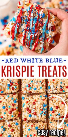 Fourth of July just got even more fun! This Red, White and Blue Rice Krispie Treats recipe adds patriotic flair to soft, chewy treats. With colorful M&Ms and sprinkles, they're the perfect addition to a fireworks show or holiday picnic. Blue Desserts, Kid Desserts, Sweets Recipes, Sweet Desserts, Holiday Desserts, Holiday Treats, Holiday Recipes, Yummy Healthy Snacks, Delicious Desserts