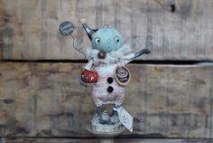 Fil À Sophie whimsical spun cotton primitive folk art pumpkin doll miniature for your harvest fall decoration!