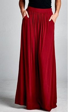 Solid Maxi Skirt with Pockets in Burgundy