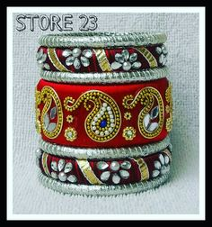 For order whatsapp 7340293499 Bridal Bangles, Silk Thread Bangles, Thread Jewellery, Diy Jewellery, Silk Thread Necklace, Beaded Necklace Patterns, Terracotta Jewellery, Fancy Earrings, Quilling Jewelry
