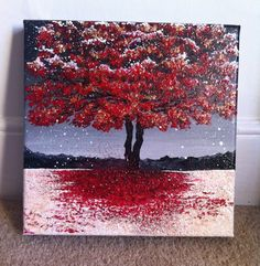 Acrylic Painting Red Winter Tree with snow 30x30cm by AlexandraMarionArt on Etsy