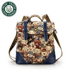 DAKA BEAR Vintage Retro British Wind Shoulders Bag Fashion Girl's Student Backpack School Bag