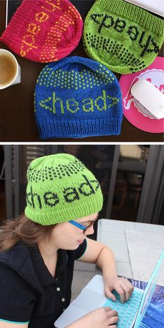 9ce724e1fbf Free Knitting Pattern for Programmer s Headgear - Beanie for your favorite  coder with the