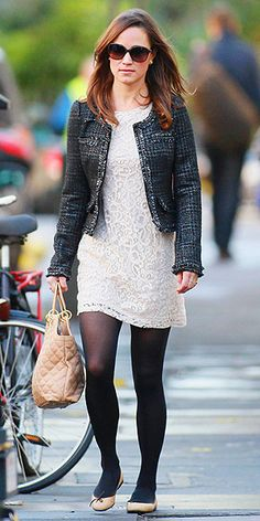 Pippa Middleton alternates darks and lights throughout her outfit, giving eye popping contrast. Try it with black tights, white dress, dark jacket, and a pair of nude flats (like the Trotters Allison in Taupe).