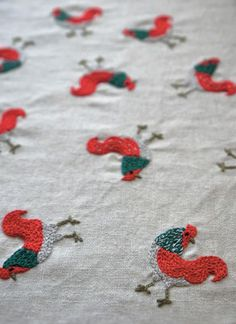 embroidered roosters - Yumiko Higuchi