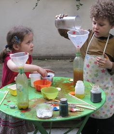 Yesterday afternoon I set up an outside laboratory for the children to make potions. Using finds from last week's kitchen spring clean, I w. Preschool Science, Science For Kids, Science Activities, Activities For Kids, Nursery Activities, Mad Science, Preschool Ideas, Outdoor Activities, Projects For Kids