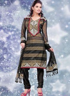 24512f8a82 black & Gold Kora Patti Churidar Suit Indian Salwar Kameez, Churidar Suits,  Buy Designer