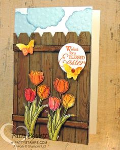 Blessed Easter Tulips with Hardwood Background Fence card - Pattys Stamping Spot