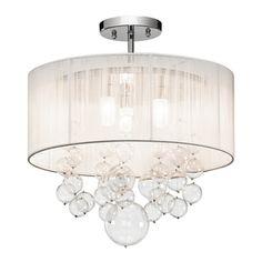 Warehouse of tiffany rl8057 optimus flush mount ceiling light this elan imbuia 16 in w chrome fabric semi flush mount light 83227 aloadofball Gallery