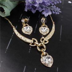 Aliexpress.com: Compre Coração romântico oceano pingente de Design Wedding Set 18 K banhado a ouro de cristal austríaco colar brincos Set para as mulheres nupcial de confiança forno de jóias fornecedores em Lingfeng Yang's store