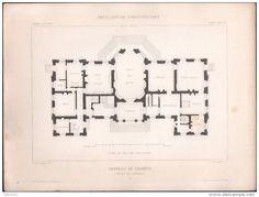 PLAN  - CHATEAU de CHAMPS -  Lot de 4 plans - Architecte L. SAUVAGEOT