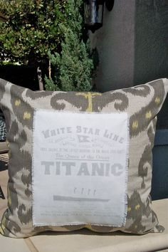 Vintage Titanic Ikat Pillow cover -Yellow and Gray.  $29.00