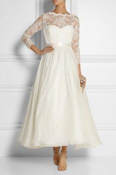 Lace Tea Length Wedding Dress by Marchesa