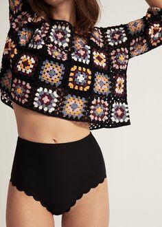Scalloped high-waist bikini bottom