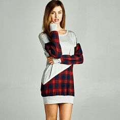 NEW The Plaid Tunic size S M French Terry Plaid Tunic in Grey and red,  long sleeve.  Wear with your favorite jeans Material is rayon,  polyester,  spandex  Size S M  Please indicate your size PRICE FIRM UNLESS BUNDLED Follow me on Facebook  Sweet-bb Boutique  Dresses Long Sleeve