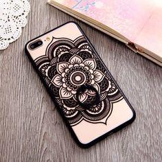 iPhone Case with Ring Grip Holder   Flower Mandala