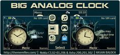 Big Analog Clock Theme for Nokia C3-00, X2-01, 205, Asha 200, 201
