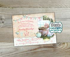 Shabby chic Teacup Tea birthday invitation by DazzleDesignGraphics Twin Birthday, Tea Party Birthday, Birthday Invitations, Invites, Shabby Chic Birthday Party Ideas, Shabby Chic Invitations, Postcard Printing, Pennant Banners, The Design Files