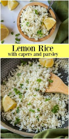 Recipe for Lemon Rice with Capers and Parsley- a delicious and easy to make side dish made in a non-traditional way. Best Side Dishes, Side Dish Recipes, Rice Recipes, Healthy Dinner Recipes, New Recipes, Vegetarian Recipes, Cooking Recipes, Recipies, Favorite Recipes