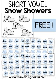 Snow Showers Short Vowel Sorting {FREE} with TWO levels of word sorting: 1-CVC words and 2-CCVC or CVCC words   This Reading Mama