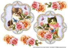 VIntage toppers with cats and roses,two designs ,very pretty...