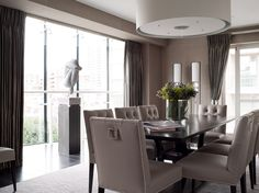 Knightsbridge Apartment transformed from basic developer finish to a luxury chic international apartment - dining area interiors ©Taylor Howes Designs