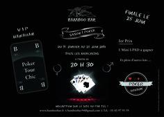 Réalisation d'affiches A3 Tournoi de Poker pour le Bamboo Bar, Bar Restaurant, DanceFloor à La Varenne (94) ∆ © Réalisation Titeux Kévin - Imagincreagraph.com