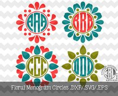Floral Monogram Circles .DXF/.SVG/.EPS File for use with your Silhouette Studio Software