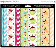 50% OFF SALE M2M Ice Cream Shoppe Digital Papers Graphics Scrapbook Card Making Supply Instant Download